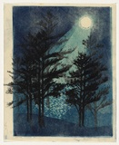 Artist: THORPE, Lesbia | Title: Lakeside nocturne | Date: 1959 | Technique: linocut, printed in colour, from three blocks