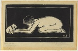 Artist: PRESTON, Margaret | Title: Nude with dog | Date: 1925 | Technique: woodcut, printed in black ink, from one block | Copyright: © Margaret Preston. Licensed by VISCOPY, Australia