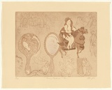 Artist: GRIFFITH, Pamela | Title: Lady Godiva and Tom | Date: 1979 | Technique: etching, soft ground, aquatint, soft ground fabric lift from one zinc plate | Copyright: © Pamela Griffith