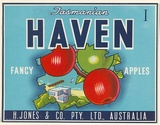 Artist: UNKNOWN | Title: Label: Tasmanian Haven apples | Date: c.1930 | Technique: lithograph, printed in colour, from multiple stones [or plates]