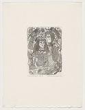 Artist: HANRAHAN, Barbara | Title: Lovers with angels | Date: 1990 | Technique: etching, printed in black ink from one plate