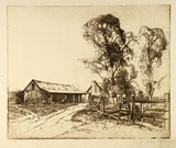 Artist: LONG, Sydney | Title: The blacksmith's shop | Date: (1928) | Technique: line-etching, printed in black ink from one copper plate | Copyright: Reproduced with the kind permission of the Ophthalmic Research Institute of Australia