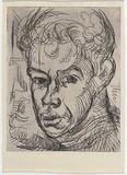 Artist: ARMSTRONG, Ian | Title: London Portrait (self-portrait). | Date: 1951 | Technique: etching, printed in black ink with plate-tone, from one  plate