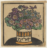 Artist: PRESTON, Margaret | Title: Cinerarias | Date: c.1927 | Technique: woodcut, printed in black ink, from one block; hand-coloured | Copyright: © Margaret Preston. Licensed by VISCOPY, Australia