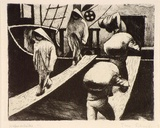 Artist: SCHARF, Theo | Title: Hafenarbeiter in Sudfrankreich (harbour workers in the south of France) | Date: c.1926 | Technique: etching, printed in black ink, from one plate | Copyright: © The Estate of Theo Scharf.