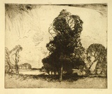 Artist: LONG, Sydney | Title: Between the showers | Date: (1916) | Technique: line-etching and drypoint, printed in warm black ink, from one zinc plate | Copyright: Reproduced with the kind permission of the Ophthalmic Research Institute of Australia