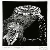 Artist: COLEING, Tony | Title: A BLACK DAY - running out. | Date: 1989 | Technique: linocut, printed in black ink, from one block