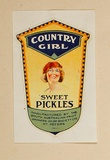 Artist: BURDETT, Frank | Title: Label: Country Girl sweet pickles. | Date: 1927 | Technique: lithograph, printed in colour, from multiple stones [or plates]