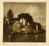 Artist: LINDSAY, Lionel | Title: A nook at Berry's Bay | Date: 1922 | Technique: mezzotint, printed in brown ink, from one plate | Copyright: Courtesy of the National Library of Australia