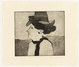 Artist: WIENHOLT, Anne | Title: Lady late on a summer's day | Technique: etching and aquatint, printed in black ink, from one copper plate