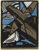 Artist: PRESTON, Margaret | Title: The aeroplane. | Date: 1925 | Technique: woodcut, printed in black ink, from one block; hand-coloured | Copyright: © Margaret Preston. Licensed by VISCOPY, Australia