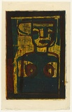 Artist: HANRAHAN, Barbara | Title: Female figure | Date: c.1963 | Technique: woodcut, printed in colour, from three blocks