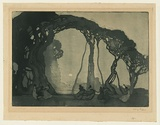 Artist: LONG, Sydney | Title: Fantasy | Date: 1919 | Technique: aquatint and drypoint, printed in green ink with plate-tone, from one copper plate | Copyright: Reproduced with the kind permission of the Ophthalmic Research Institute of Australia