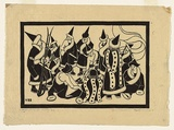 Artist: BLACKBURN, Vera | Title: Mongols of the Koko Nor. | Date: 1935, July | Technique: linocut, printed in black ink, from one block | Copyright: © Vera Blackburn