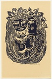 Artist: HANRAHAN, Barbara | Title: Lovers with a bird | Date: 1960 | Technique: linocut, printed in blue ink, from one block