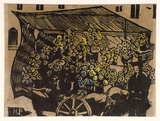 Artist: PRESTON, Margaret | Title: Flower stand | Date: c.1920 | Technique: woodcut, printed in black ink, from one block; hand-coloured | Copyright: © Margaret Preston. Licensed by VISCOPY, Australia