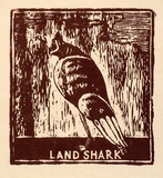 Artist: MACKELL, Kim | Title: Land shark | Date: 1988 | Technique: woodcut