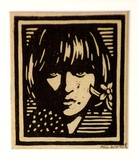 Artist: WOOD, Rex | Title: (Face of a girl) | Date: c.1934 | Technique: linocut, printed in black ink, from one block