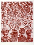 Artist: HANRAHAN, Barbara | Title: Laughing Jack | Date: 1983 | Technique: relief-etching, printed in red ink, from one plate