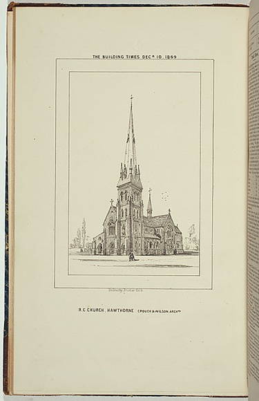 Title: R.C. Church, Hawthorne. | Date: 1869 | Technique: lithograph, printed in black ink, from one stone