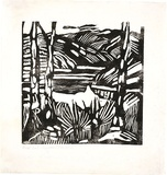 Artist: PRESTON, Margaret | Title: Calabash Bay, Berowra | Date: 1939 | Technique: woodcut, printed in black ink, from one block | Copyright: © Margaret Preston. Licensed by VISCOPY, Australia