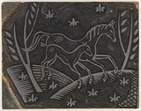 Artist: REES, Ann Gillmore | Title: Fabric design (horse and foal) | Date: c.1942 | Technique: engraved linoblock mounted on plywood
