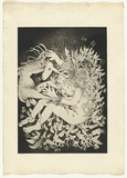 Artist: BOYD, Arthur | Title: (Lady and unicorn wrapped in foliage). | Date: 1973-74 | Technique: aquatint, printed in black ink, from one plate | Copyright: Reproduced with permission of Bundanon Trust