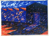 Artist: MARTIN, Mandy | Title: Factory III | Date: 1982 | Technique: screenprint, printed in colour, from multiple stencils | Copyright: © Mandy Martin. Licensed by VISCOPY, Australia