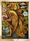Artist: HIGGS, Florence | Title: Golden cockerel | Date: 1956 | Technique: linocut, printed in colour, from six blocks