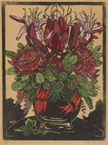 Artist: PRESTON, Margaret | Title: Illawarra lilies and waratahs. | Date: 1929 | Technique: woodcut, printed in black ink, from one block; hand-coloured | Copyright: © Margaret Preston. Licensed by VISCOPY, Australia