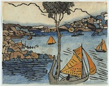 Artist: PRESTON, Margaret | Title: The boat, Sydney Harbour. | Date: c.1920 | Technique: woodcut, printed in black ink, from one block; hand-coloured | Copyright: © Margaret Preston. Licensed by VISCOPY, Australia