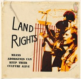 Artist: SYMONS, Suellen | Title: Land rights means Aboriginies can keep their culture alive. | Date: 1980 | Technique: screenprint, printed in colour, from three stencils | Copyright: © Suellen Symons
