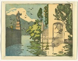 Artist: ALLPORT, C.L. | Title: Lake Como, entrance to Villa d'Este. | Date: c.1928 | Technique: linocut, printed in black ink, from one block; hand-coloured