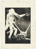 Artist: BOYD, Arthur | Title: Lady blowing. | Date: 1973-74 | Technique: aquatint, printed in black ink, from one plate | Copyright: Reproduced with permission of Bundanon Trust