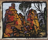 Artist: PRESTON, Margaret | Title: Rocks in Roper River. | Date: 1953 | Technique: stencil, printed in colour, from one hand-cut paper stencil | Copyright: © Margaret Preston. Licensed by VISCOPY, Australia