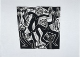 Artist: HANRAHAN, Barbara | Title: Ghost dancers | Date: 1989 | Technique: linocut, printed in black ink, from one block