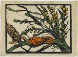 Artist: PRESTON, Margaret | Title: Banksia and fungus | Date: 1936 | Technique: woodcut, printed in black ink, from one block; hand-coloured | Copyright: © Margaret Preston. Licensed by VISCOPY, Australia